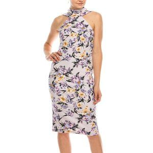BEBE Lavender Floral Mock Neck Sheath Midi Dress